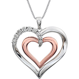 Two-Tone Diamond Heart Necklace