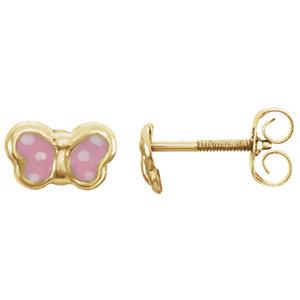 14K Yellow Pink Enamel Butterfly Earrings