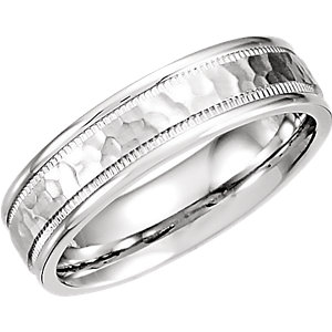 Fancy Carved Band 6mm with Micro-Hammer Finish