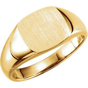 14kt Yellow 9mm Square Signet Ring