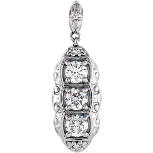 Accented 3-Stone Diamond Pendant  or Mounting