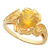 Leaf Design Ring Mounting for Round Gemstone Solitaire