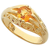 Openwork Scroll Design Ring Mounting for 5.5 mm Round Gemstone Solitaire