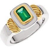 Bezel-Set Ring for Emerald-Shape Gemstone