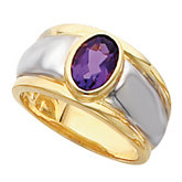 Bezel-Set Ring Mounting for Oval Gemstone Solitaire