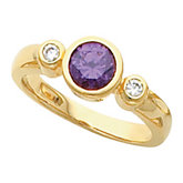 Bezel-Set Ring Mounting for Round Gemstone Center