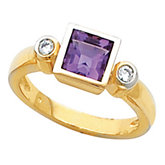 Bezel-Set Ring Mounting for Princess - Cut Gemstone Solitaire