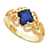 Scroll Design Ring for Square Gemstone Solitaire