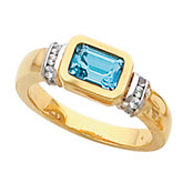 Bezel-Set Ring Mounting for Emerald Shape Gemstone