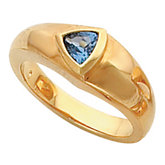 Bezel - Set Ring Mounting for Trillion Shape Gemstone