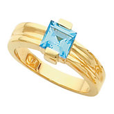 Channel-Set Ring for 6.0 mm Square Gemstone Solitaire