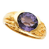 Channel-Set Ring Mounting for Oval Gemstone Solitaire