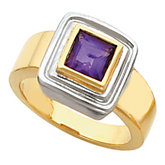 Bezel-Set Ring for 6.0 mm Square Gemstone Solitaire