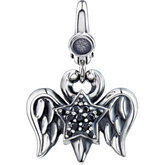 Black CZ Double Wing & Star Charm
