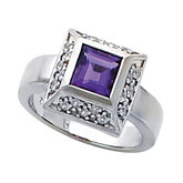 Bezel-Set Ring for 6.0 mm Square Gemstone