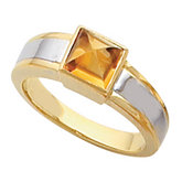 Bezel-Set Ring Mounting for Princess - Cut Cabochon Gemstone Solitaire