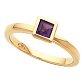 Bezel-Set Ring for Square Gemstone Solitaire