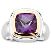 Genuine Checkerboard Amethyst Ring