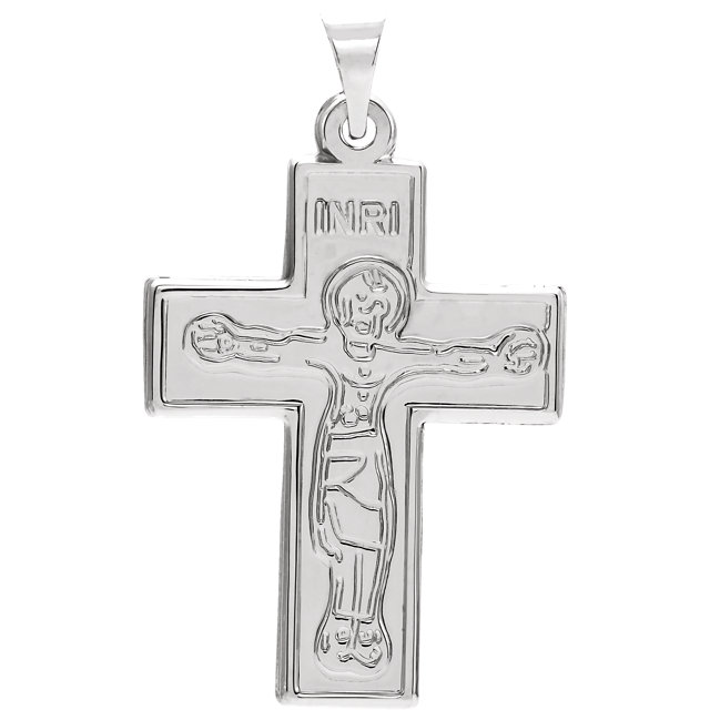 Sterling Silver 23.5x18mm Crucifix Pendant