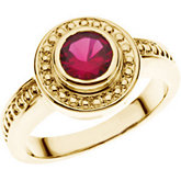 Bead Trimmed Bezel-Set Ring Mounting for Round Gemstone Solitaire