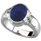 Bezel-Set Ring Mounting for Oval Gemstone with Round Accent Stones