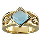 Bezel-Set  Ring Mounting for Princess - Cut Gemstone