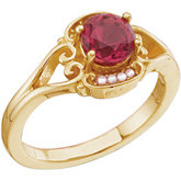Vintage Design Ring Mounting for 6.0 mm Gemstone and Seed Pearls