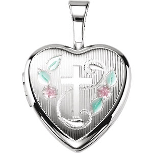 Sterling Silver Cross Heart Locket with Epoxy