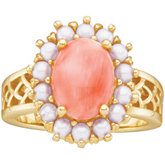 Vintage Design Ring Mounting for Oval Cabochon and Seed Pearls