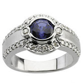 Ring Mounting for Round Gemstone and Diamond Accents