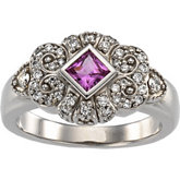 Vintage Design Ring Mounting for 4.0 mm Princess Gemstone
