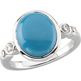 Bezel-Set Ring Mounting for Oval Gemstone and Diamonds