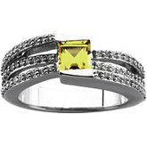 Micro Prong Set Ring Mounting for Gemstones with Princess Cut Center