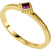 Square Stone Stackable Ring for Mothers