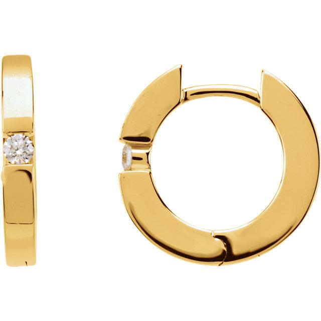 14K Yellow .07 CTW Diamond Hoop Earrings