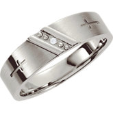 Stainless Steel .015 ct Diamond Cross Band