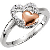Diamond Double Heart Design Ring