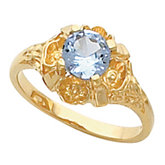 Flower Trimmed Ring Mounting for Round Gemstone Solitaire
