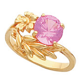 Flower and Leaf Ring Mounting for Round Gemstone Solitaire