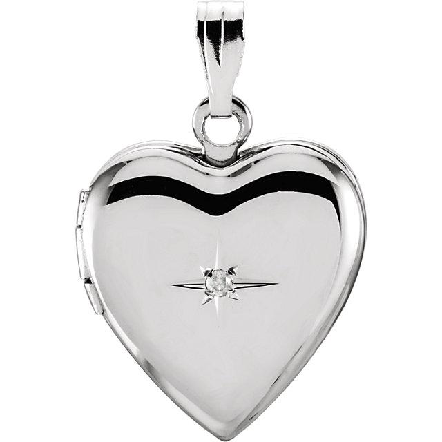 Sterling Silver .01 CTW Diamond Heart Locket