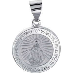 14kt White 15mm Hollow Round Miraculous Medal