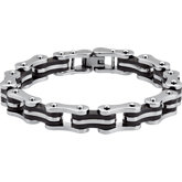 Stainless Steel Bike Chain Link Bracelet with Black Rubber Accents
