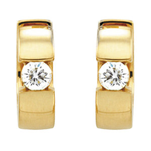 Hinged Diamond Solitaire Hoop Earrings