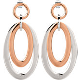 Stainless Steel Oval Earrings with Immerse Plating