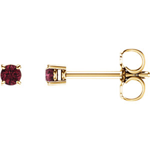 14kt Yellow  .5mm Round Mozambique Garnet Earrings