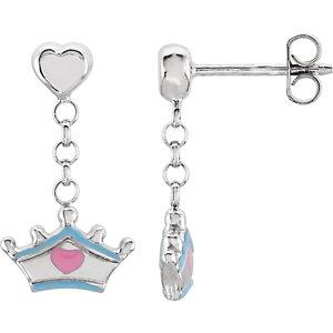 Cinderella Tiara Earrings with Enamel Ref 650755