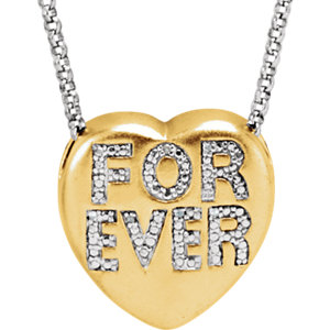 ".02 CTW Diamond ""Forever"" Heart Necklace"