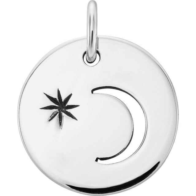 Sterling Silver Crescent Moon with Evening Star Charm