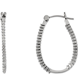 Platinum Inside/Outside Hinged Hoop Earrings