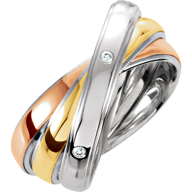 Sterling Silver & 10K Yellow & Rose & White Diamond Comfort-Fit Precious Bond® Band